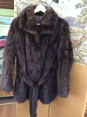 Beautiful Vintage Quality Real Mink Fur Belted Jacket Size 12 Vgc