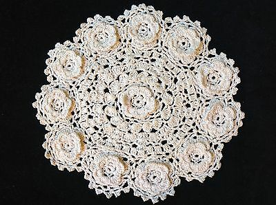 "handmade 7""18cm vintage crochet lace doilie doily doiley round white, pink, ecru"