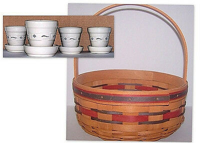 Longaberger Basket Crisco Celebration and 4 Flower Pots with Trays Marked