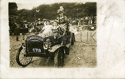 RA252 Early RP POSTCARD Vintage Cyclecar  - The Beach - Scarborough -1900s