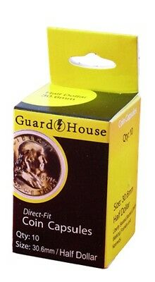 Guardhouse Half Dollar 30.6mm Direct Fit Coin Capsules, 10 pack