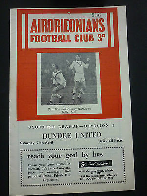 Airdrie V Dundee Uinted 27/4/1963