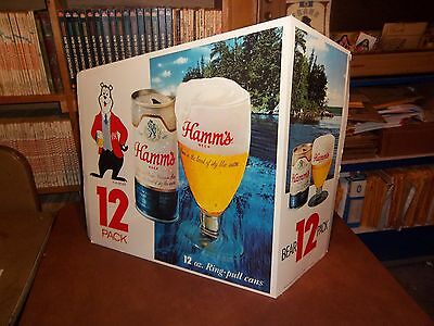 VINTAGE  HAMMS BEER SIGN CARDBOARD STORE DISPLAY SIGN 1960's BEAR CAN VERY RARE