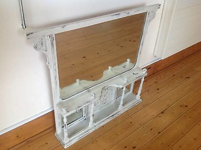 Antique Shabby Chic Overmantle Mirror