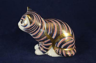 Royal Crown Derby Sitting Kitten Paperweight - Gold Stopper + Box