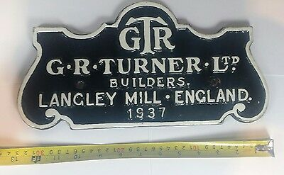 Original Iron railway plate GTR GR Turner Ltd Builders Langley Mill England 1939