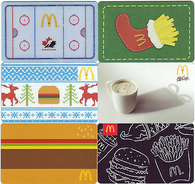6 McDonald's Items collectors ARCH card GIFT CARD from CANADA (no cash value)