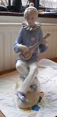 Large Lladro Clown Figurine  Playing Mandolin