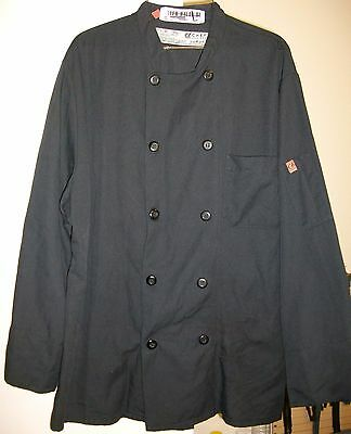 Chef Coat Used Chef Designs Black Size Large Long Sleeve 100% Polyester
