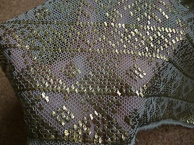 Vintage Beautiful Rare Coptic Shawl Square Scarf Veil Gold Metal Egyptian Net