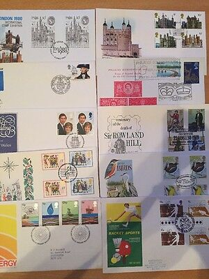 GB FDC x10, 1977-82, All Special Pmk (8)