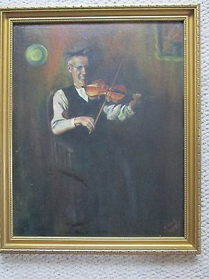 original signed oil painting of a violinist