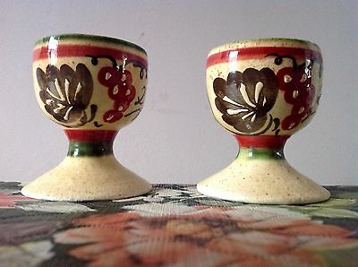 Pair Of Vintage Ceramic Studio Pottery Glaze Hand Painted Floral Egg Cups