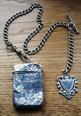Silver Albert / Watch Chain with Fob and Vesta