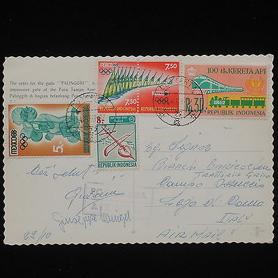 WS-E281 INDONESIA - Trains, Olympic Games, Airmail 1968 To Italy Postcard