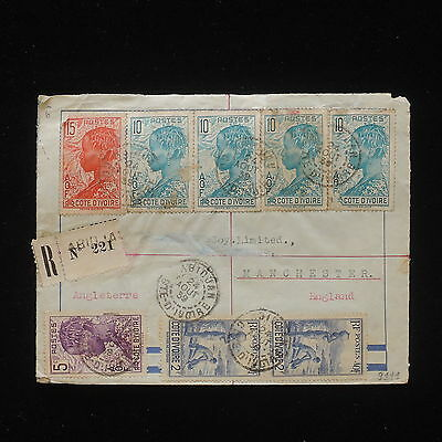 WS-E316 IVORY COAST IND - Cover, Great Franking To Manchester 1939