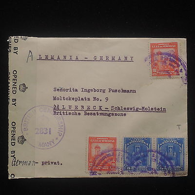 WS-E483 VENEZUELA - Censored, P.C. 90 British Censorship 2831 To Germany Cover