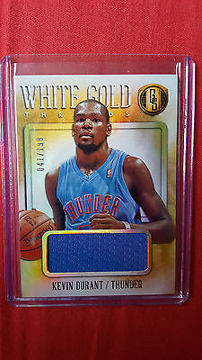 Kevin Durant 2013-14 Panini Gold Standard white gold threads 041/199 jersey card