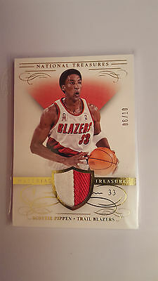 2013-14 Panini National Treasures /10 Scottie Pippen jersey/patch card
