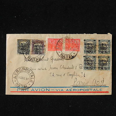WS-E893 BRAZIL - Aeropostale, Block Of 4, Airmail 1931 Natal To France Cover