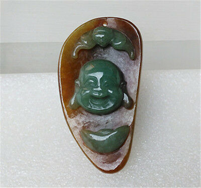 """100% Natural Red fei Ice Kind Manual Carved Jadeite Jade Pendant """"佛公"""" """"Grade A"""""""