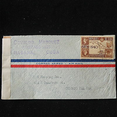 WS-E931 HAVANA - Censored, 1940 Sos, First Stamp Centenary To Usa Cover
