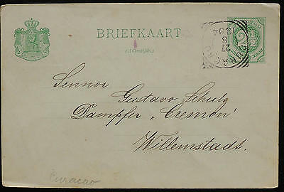 WS-F025 CURACAO - Postcard, 2 1/2 Cent Green To Germany