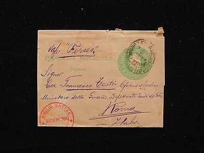 WS-F036 ARGENTINA - Steamship, Wrapper S/S Perseo To Italy Rome 1896 Cover