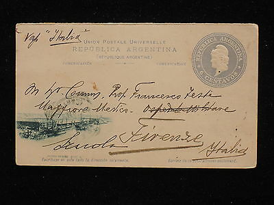 WS-F042 ARGENTINA - Postcard, S/S Italia, Puerto Madero Dique N.1 To Italy 1908