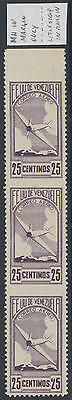 WS-F271 VENEZUELA - Imperf, 1937 Airmail Strip Of 3, Signed Oliva Sc.C50 MNH