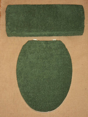 Dark Forest Green Terry Cloth Terrycloth Toilet Seat & Tank Lid Cover Set