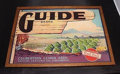 Vintage 1940s Framed Guide Brand Lemon Crate Label Ventura,Ca