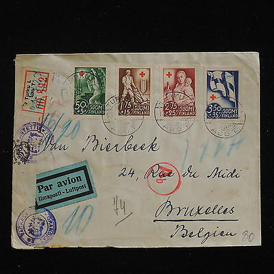 WS-F735 FINLAND - Red Cross, Abo, Airmail Censored To Belgium 1941 Cover