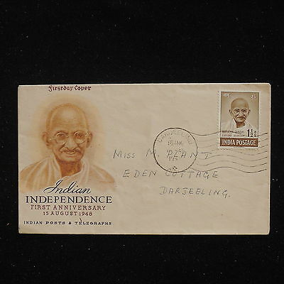 WS-F796 INDIA IND - Gandhi, 1 1/2A. Official Fdc 15.8.1948 Darjeeling Cover