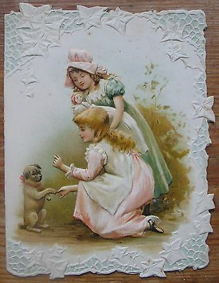Beautiful  Antique Christmas Card With Girls And A Puppy Dog