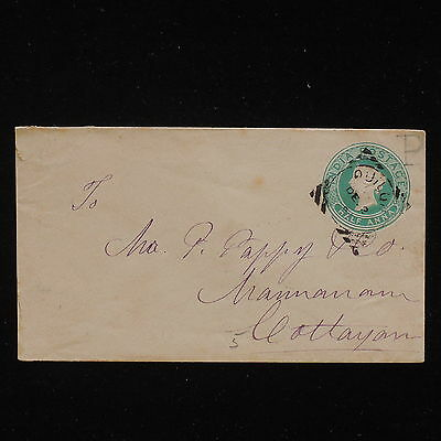 WS-F860 INDIA GBC - Stationery, 1/2 Anna Quilon To Cottayan 1891 Cover