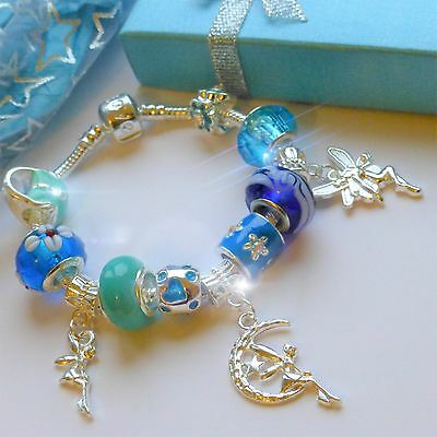 3 fairies blue charm bracelet childrens with Tinkerbell pendant bag flower charm