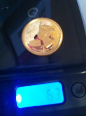 Gibraltar 1992 .999 PURE GOLD COIN  1/5th Crown 6.3g