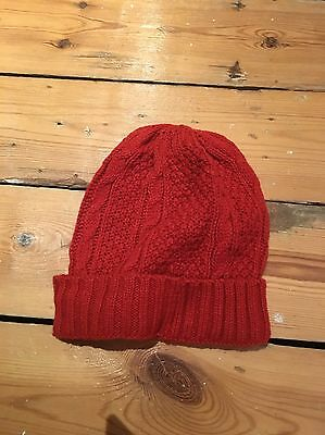 New Look Men's Red Cable Beanie Hat BNWT One Size