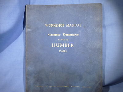 Humber Car Workshop Manual 1959 Automatic Transmission As Fitted