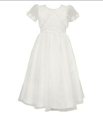 New Girl's Floral Trim Dress with Jacket, Size 7 - NWT - Flower Girl, Communion
