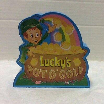'95 Lucky Charms cereal Lucky's Pot O' Gold plastic coin bank advertising