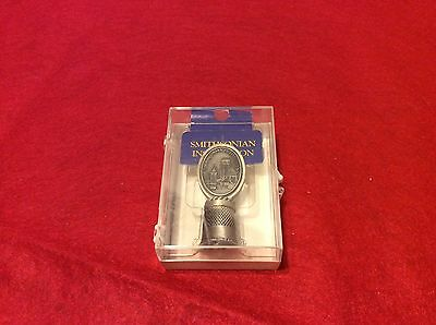 Smithsonian Institution pewter collectible thimble with plastic case FOrtT USA