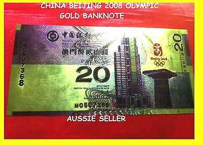 Macau China Gold 20 Yuan Banknote China Unc Beijing 2008 Chinese Olympic Note