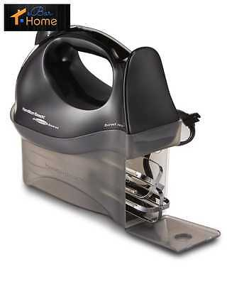 Hamilton Electric Hand Mixer With Snap-On Case Instant Storage 6 Speeds Black