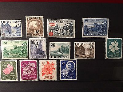 Norfolk Island Early QEII Stamps Lightly Mounted Mint