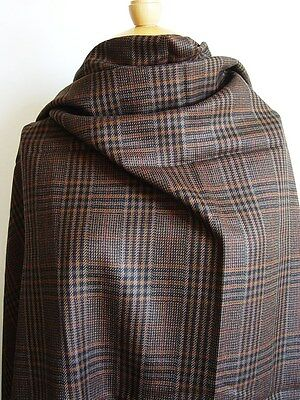 100% Pure Wool Brown/Black/Ginger Check Remnant - 1.3 Metres