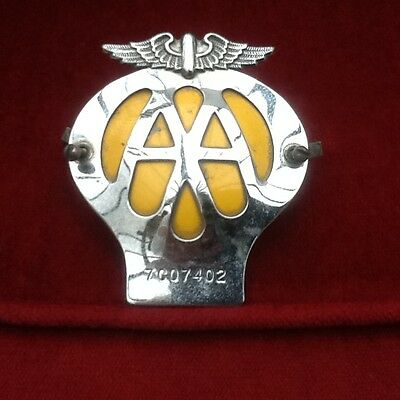 Vintage AA Car Club Badge Grille Bumper Mascot in Chrome