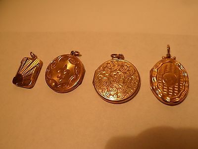 4 x Rolled Gold Lockets (3 x Vintage)