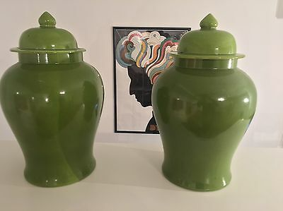 Beautiful Pair Green Lidded Chinese Vase Porcelain Signature To Base Pots